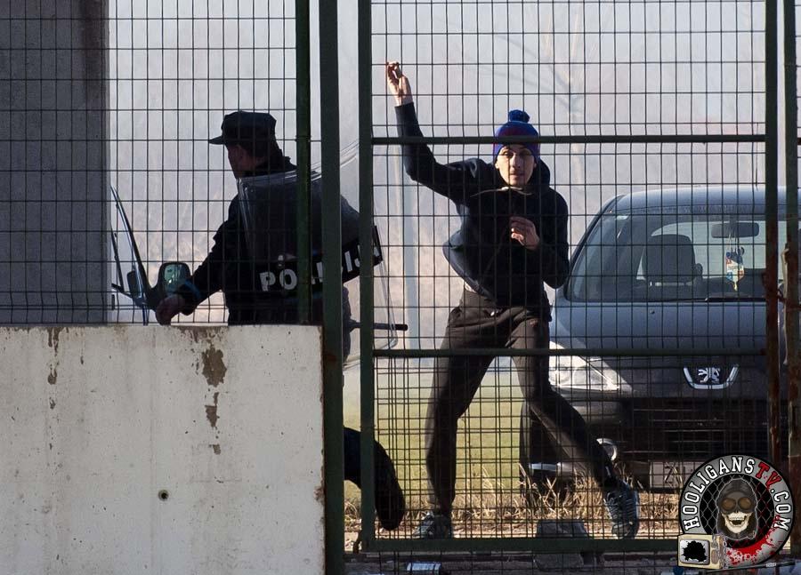 Gabela, 16.01.2015 - Nogomet: Sukob izmedju policije BiH i pripadnika Torcide