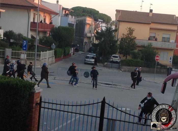 Giulianova (Teramo) - tafferugli tra tifosi al termine di Giulianova-Avezzano